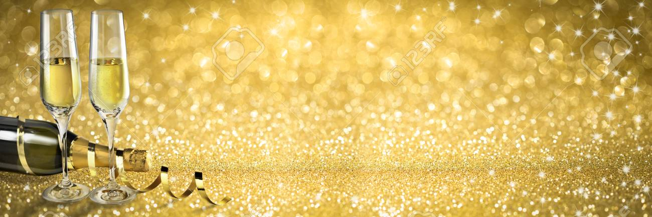 champagne toast new year banner golden background stock photo 68420674