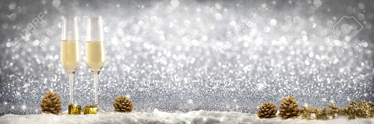 champagne toast new year banner golden background stock photo 68420675