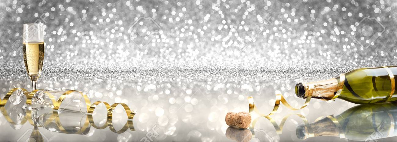 new year toast champagne banner silver background stock photo 87096956
