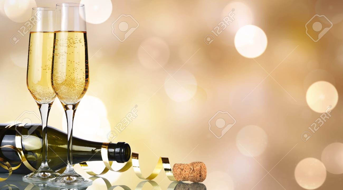 new year champagne banner golden background stock photo 87874975