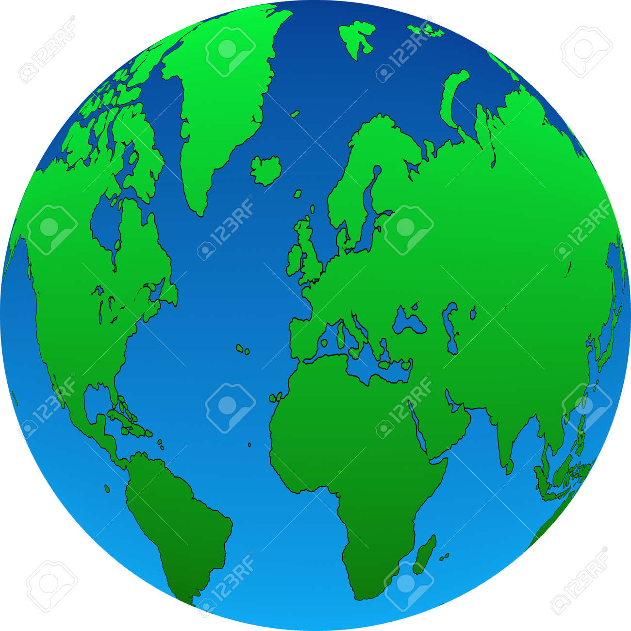 A Map Of The World In Globe Form Made Up From Two Gradients Stock - Map of the globe