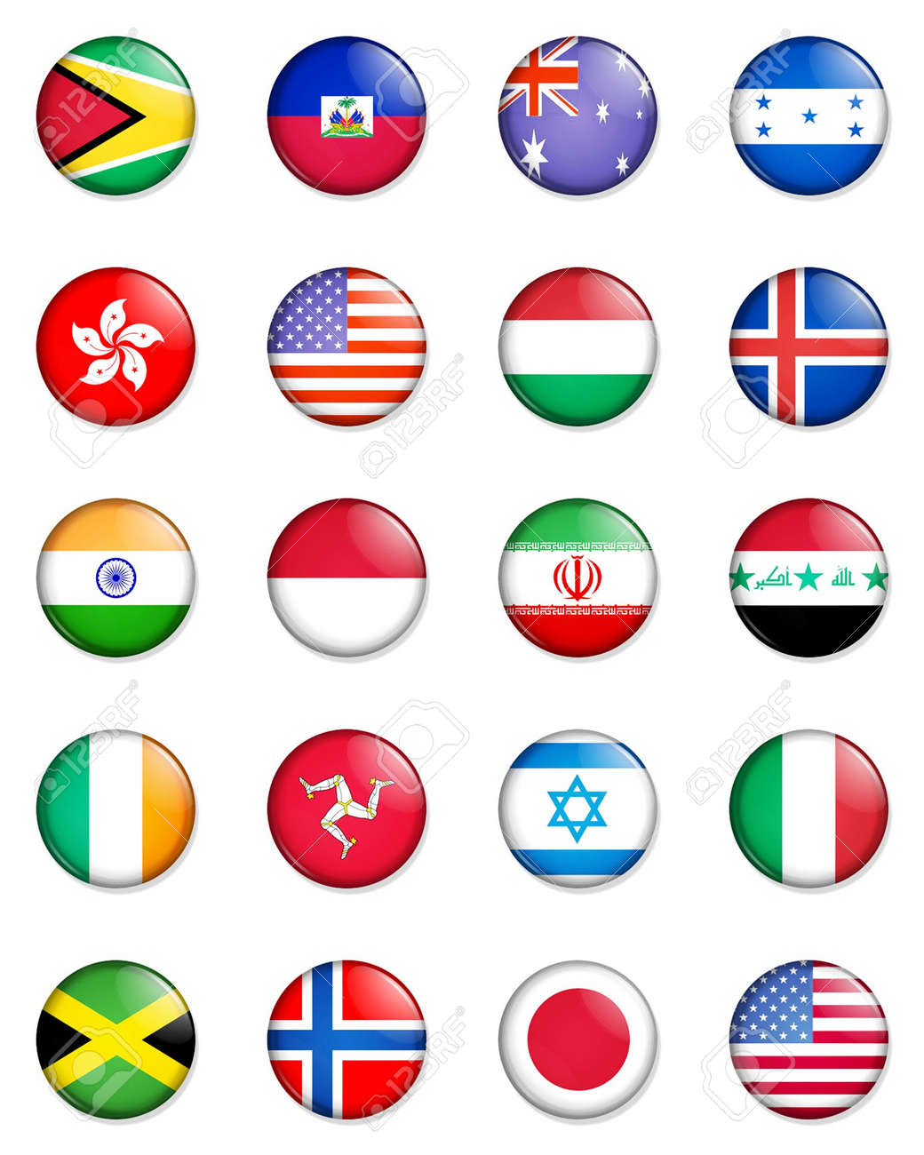 A selection of the flags of the nations of the world done in the style of small retro button badges. Stock Photo - 1831236