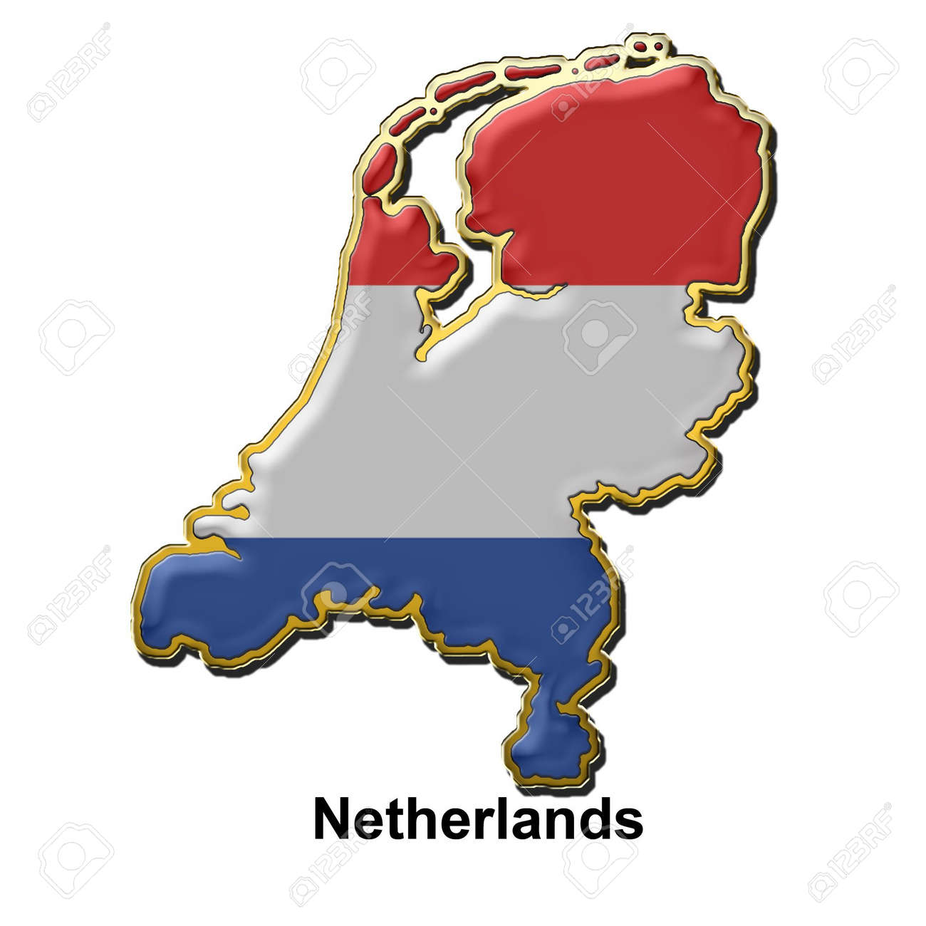 map shaped flag of holland in the style of a metal pin badge stock