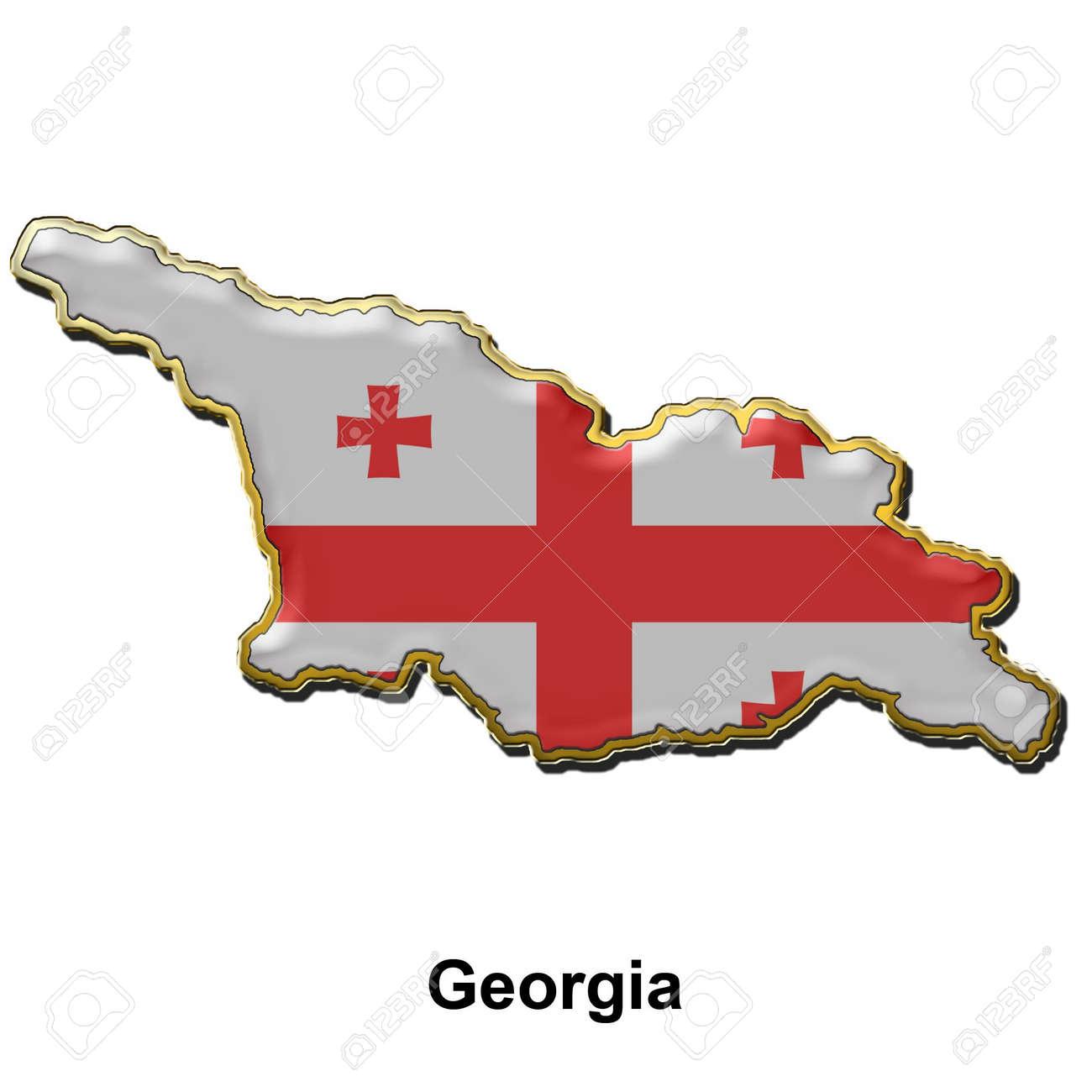 Mapa En Forma De Bandera De Georgia En El Estilo De Una Placa De - Mapa de georgia