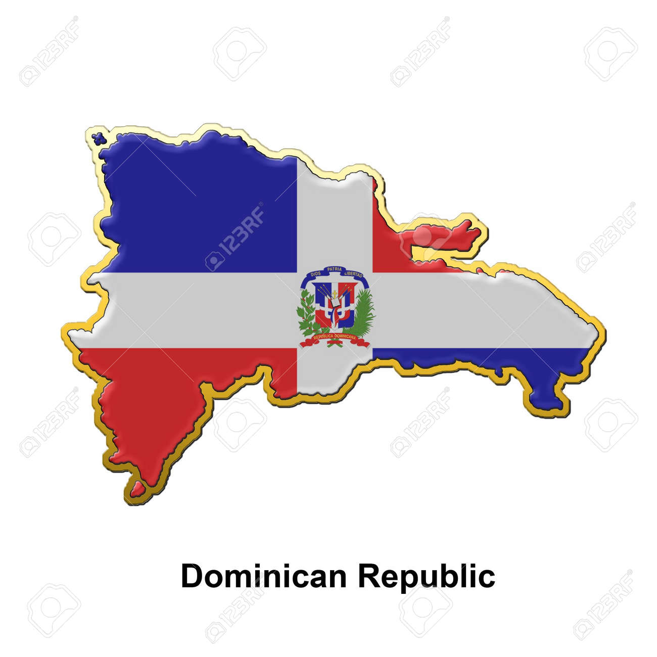 Map Shaped Flag Of Dominican Republic In The Style Of A Metal ...