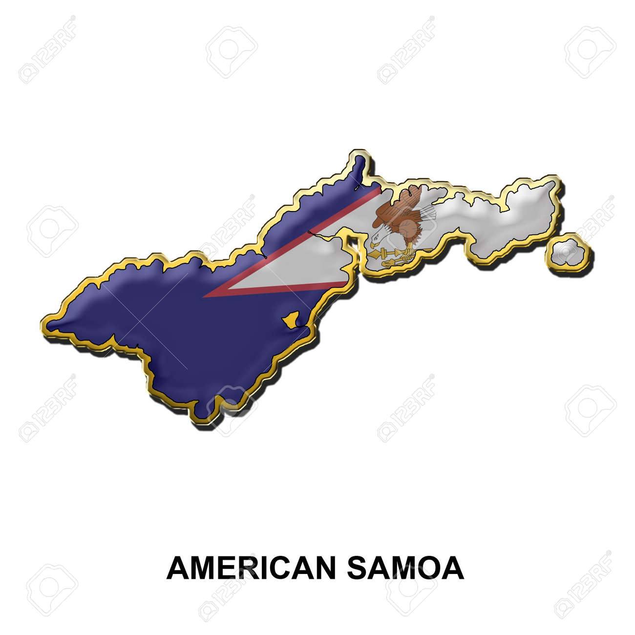 Map Shaped Flag Of American Samoa In The Style Of A Metal Pin – American Somoa Map