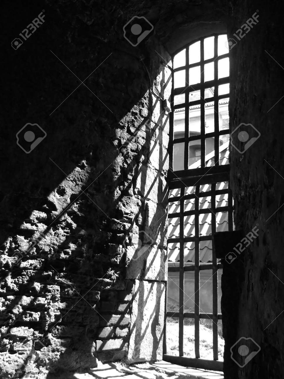 a view of a dungeon window from the dungeon interior of the Elfsborg fortress at Gothenburg in Sweden Stock Photo - 3507661