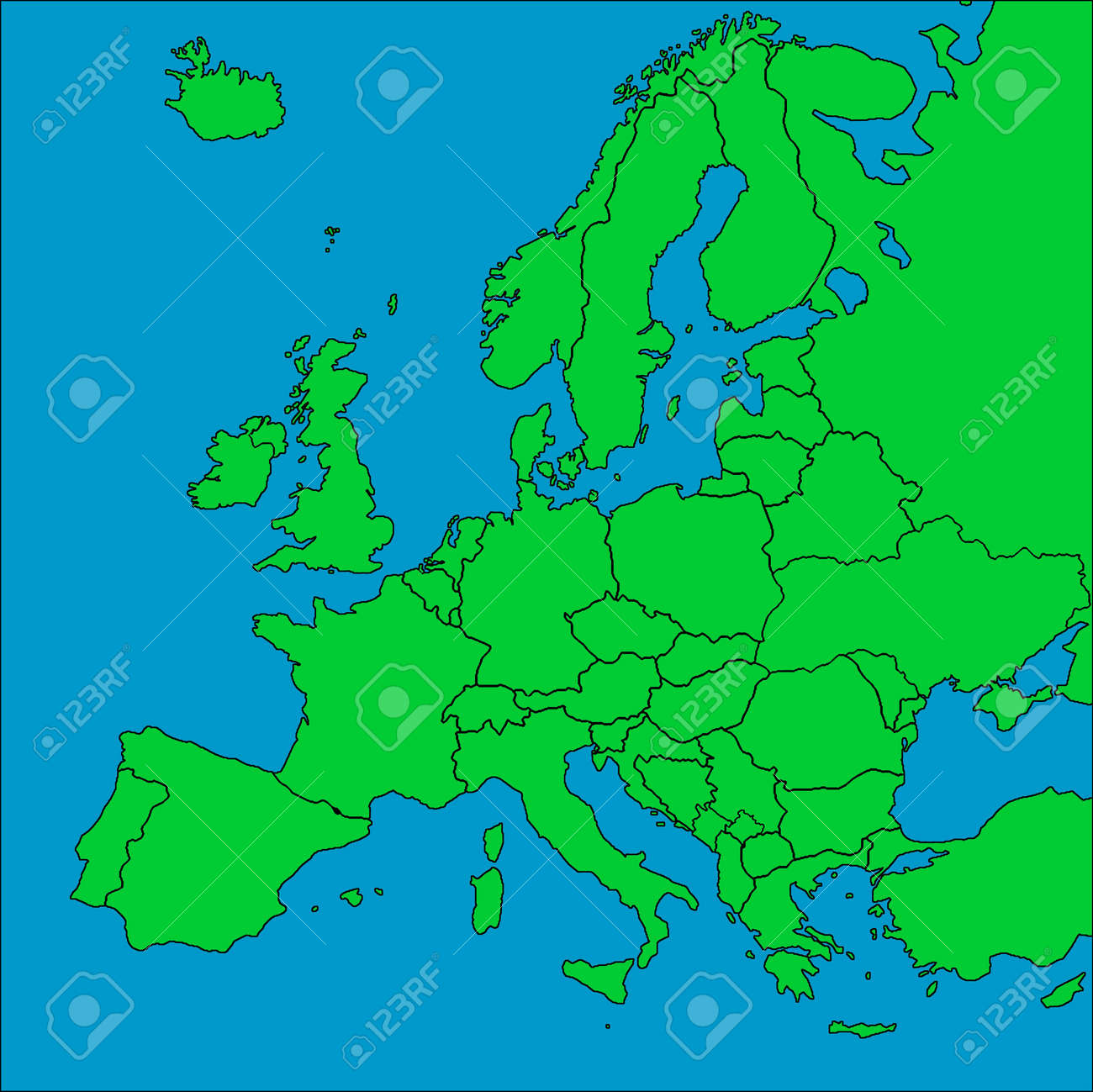 a map of europe with all countries borders represented stock photo 6970398