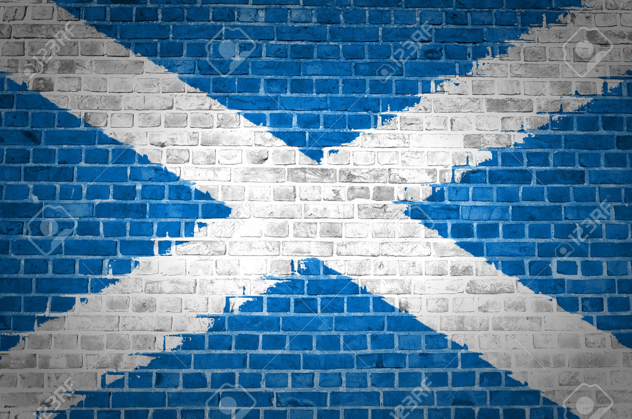 An image of the Scotland Saltire flag painted on a brick wall in an urban location Stock Photo - 12422955