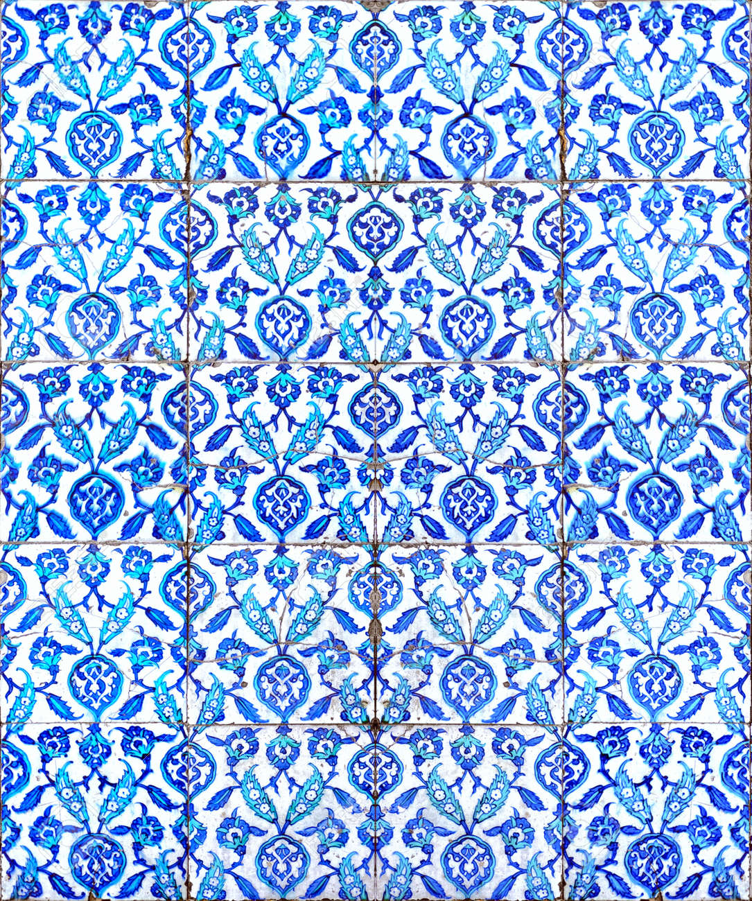 A seamless background image of ancient hand painted ceramic tiles from an islamic mosque. Stock Photo - 12958865