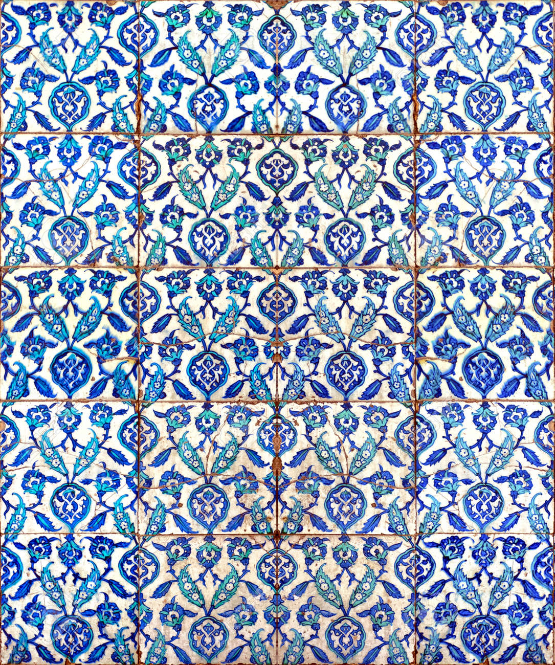 A seamless background image of ancient hand painted ceramic tiles a seamless background image of ancient hand painted ceramic tiles from an islamic mosque stock dailygadgetfo Image collections