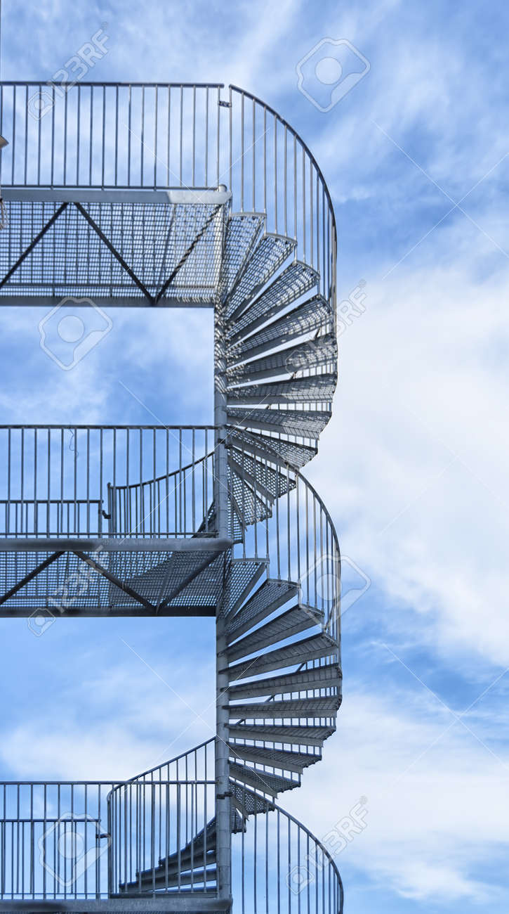 A typical metal fire escape on the side of a building Stock Photo - 19384033