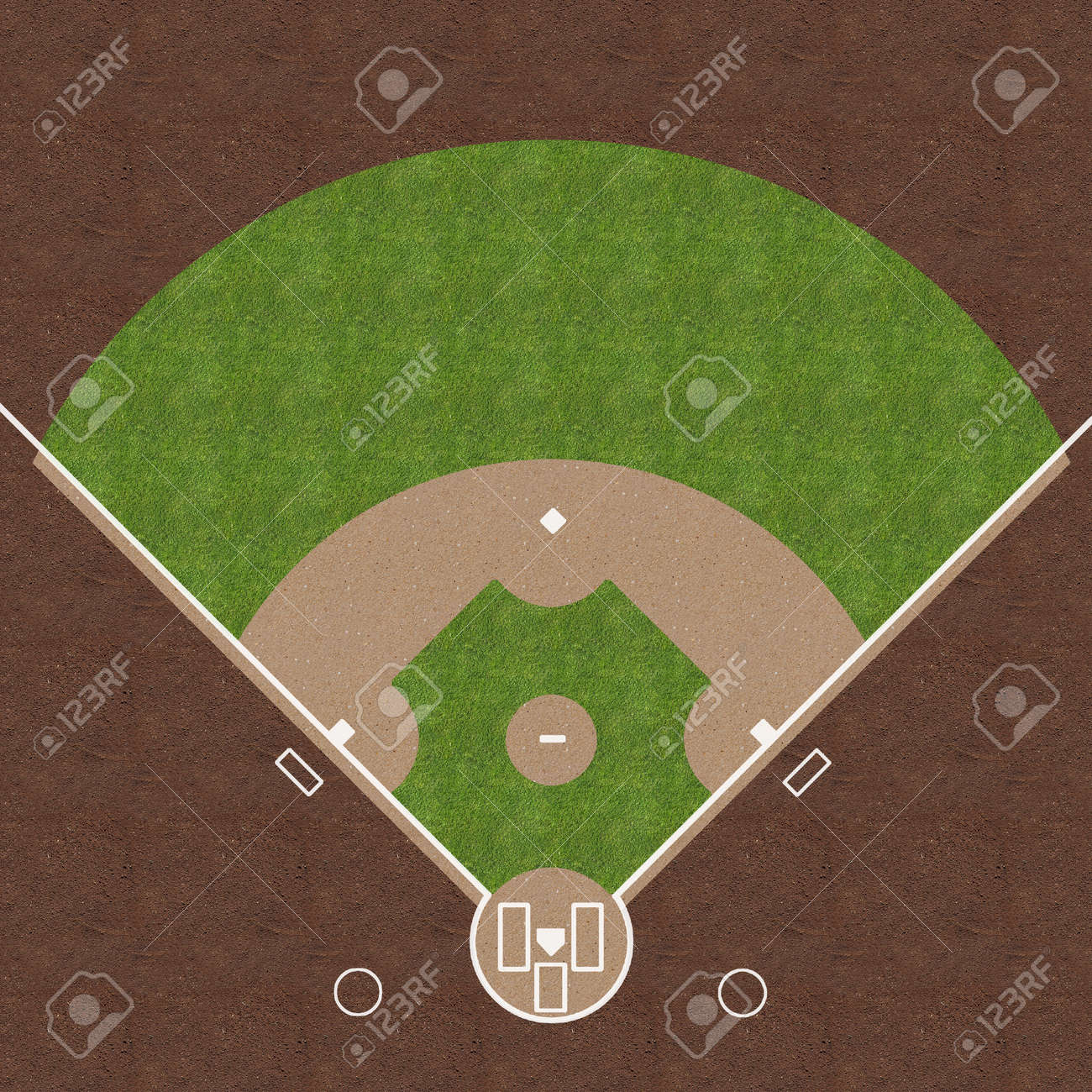 An overhead view of an american baseball field with white markings painted on grass and gravel. Stock Photo - 25082140