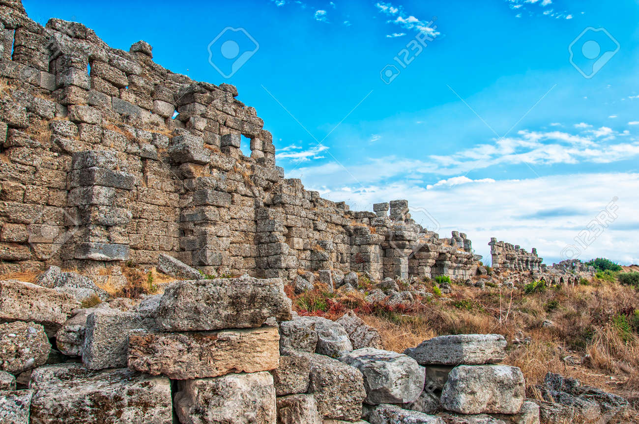 Part Of The Ancient City Wall Ruins That Surround The Town Of ...