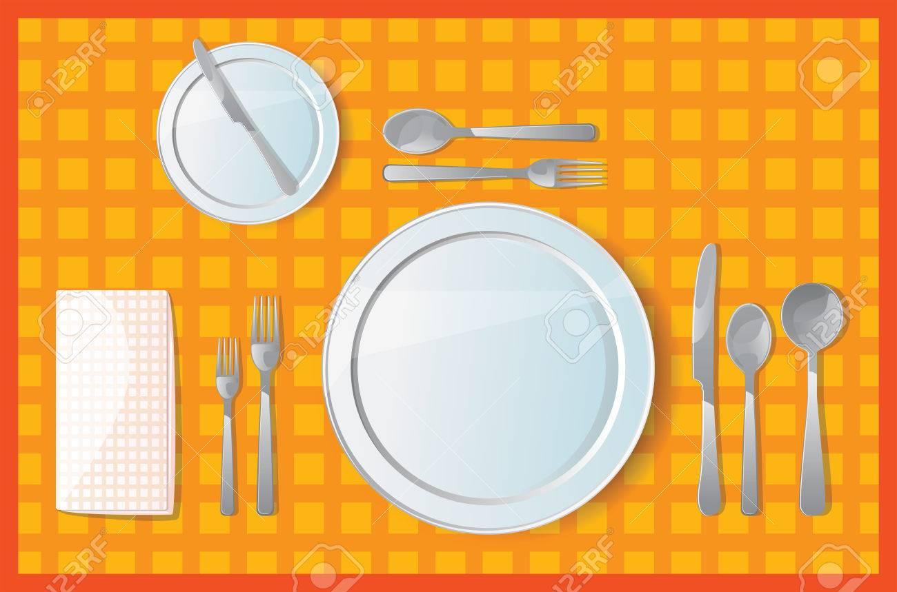 Сервировка стола на обед схема