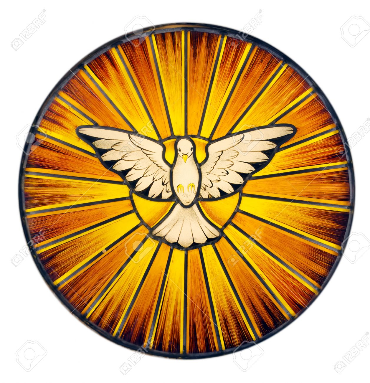 Stained Glass Depicting The Symbol Of The Holy Spirit Stock Photo