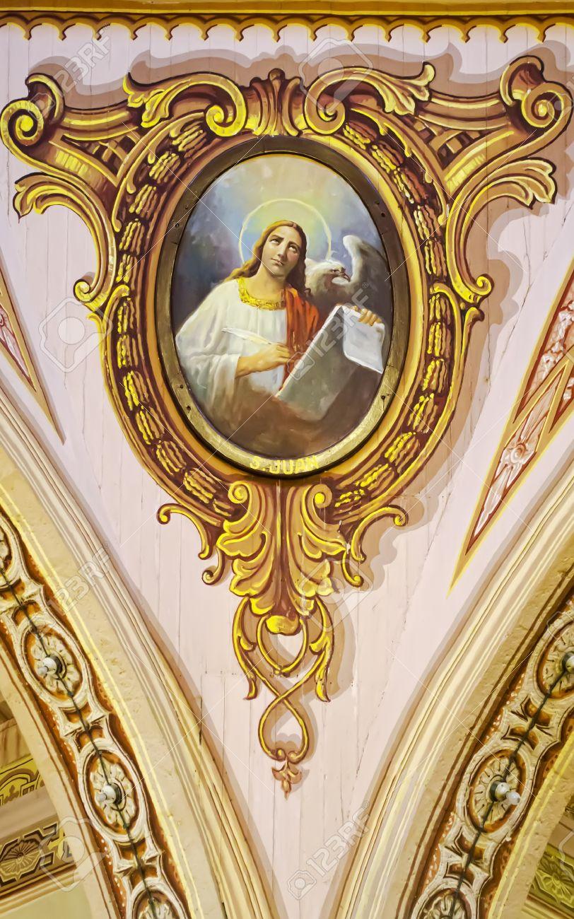 St Jean L Ecrivain Evangile Est Represente Dans Un Tableau Vieux