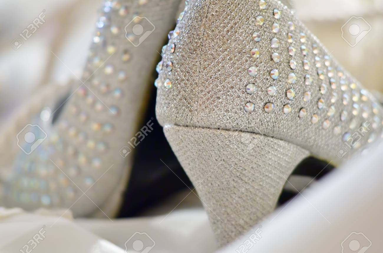 Beaded wedding shoes shot from behind Stock Photo - 24942299