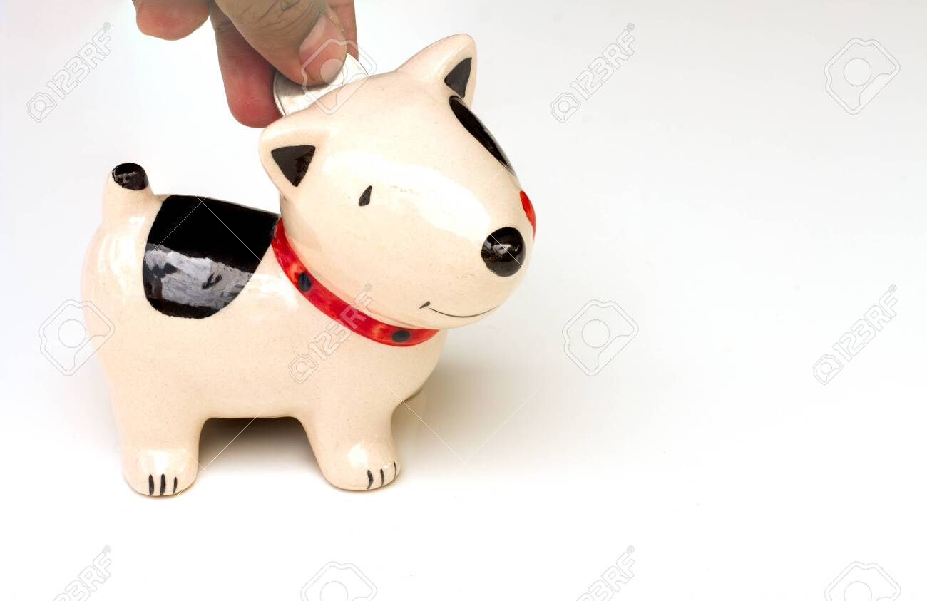 Saving, male hand putting a coin into piggy bank. - 133675087