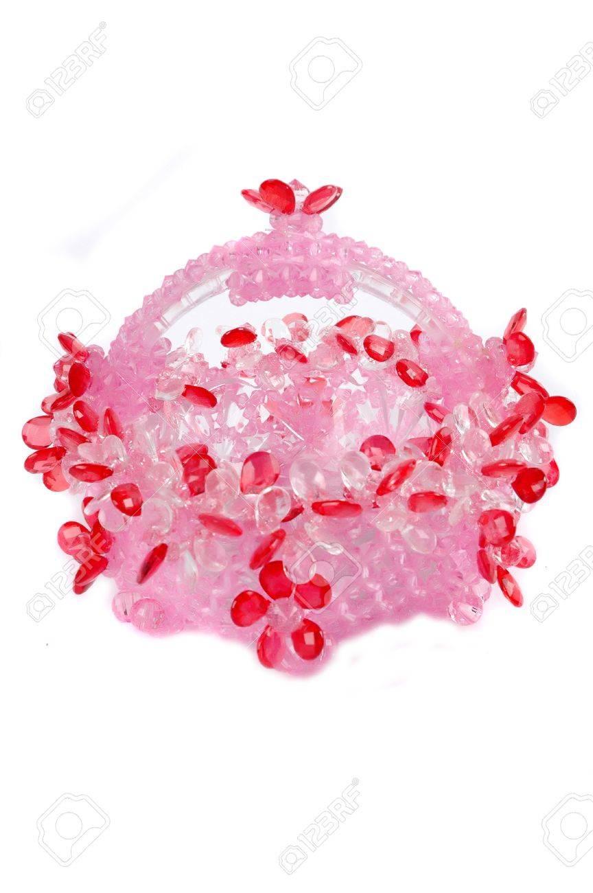 handicraft of beads crystal basket shaped plastic bowl isolated on white background Stock Photo - 13387691