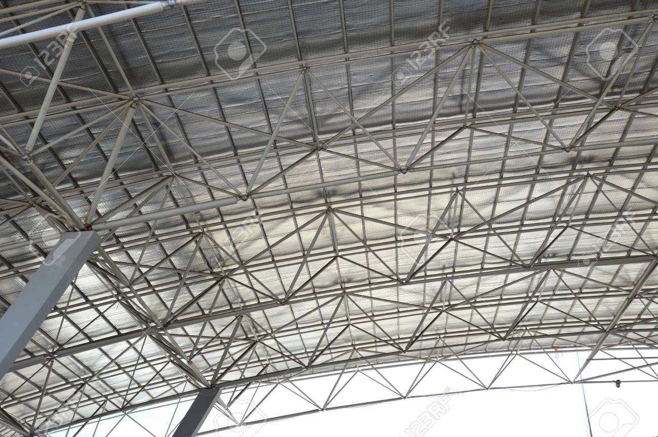 Steel Frame On The Roof Of The Building Stock Photo, Picture And ...