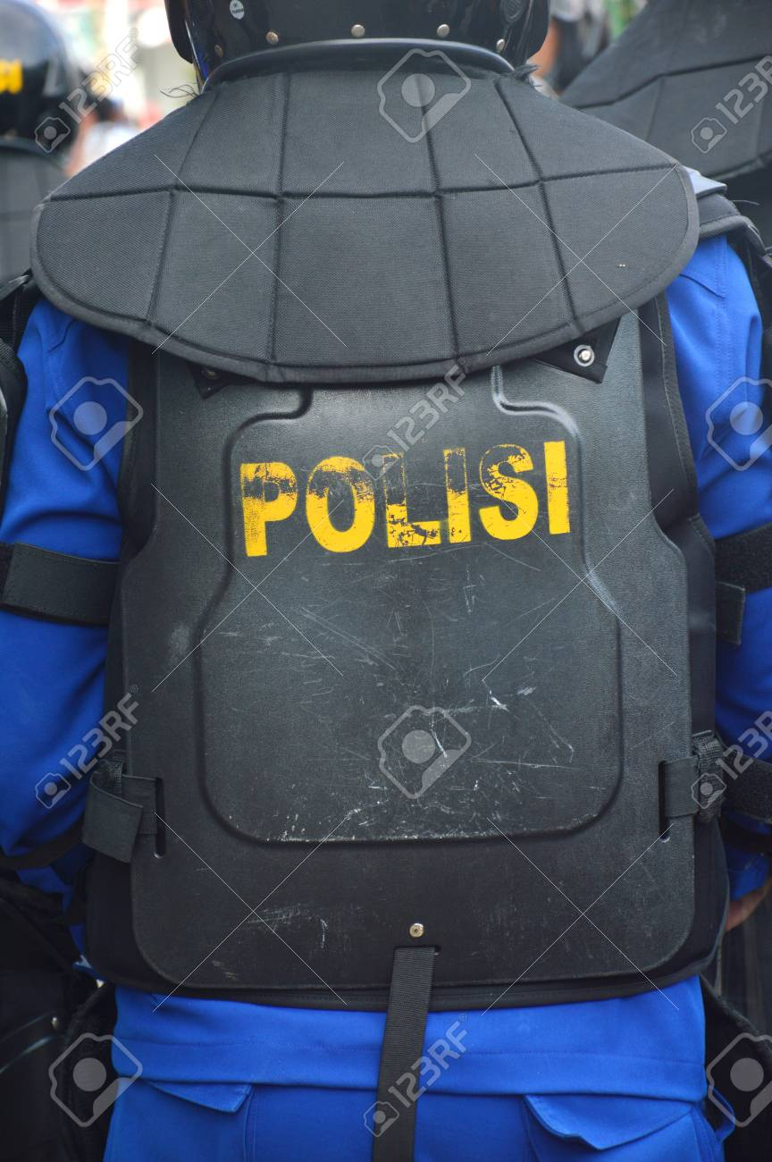Indonessian Police Wearing Black Anti Riot Safety Vests Stock Photo Picture And Royalty Free Image Image 92208625