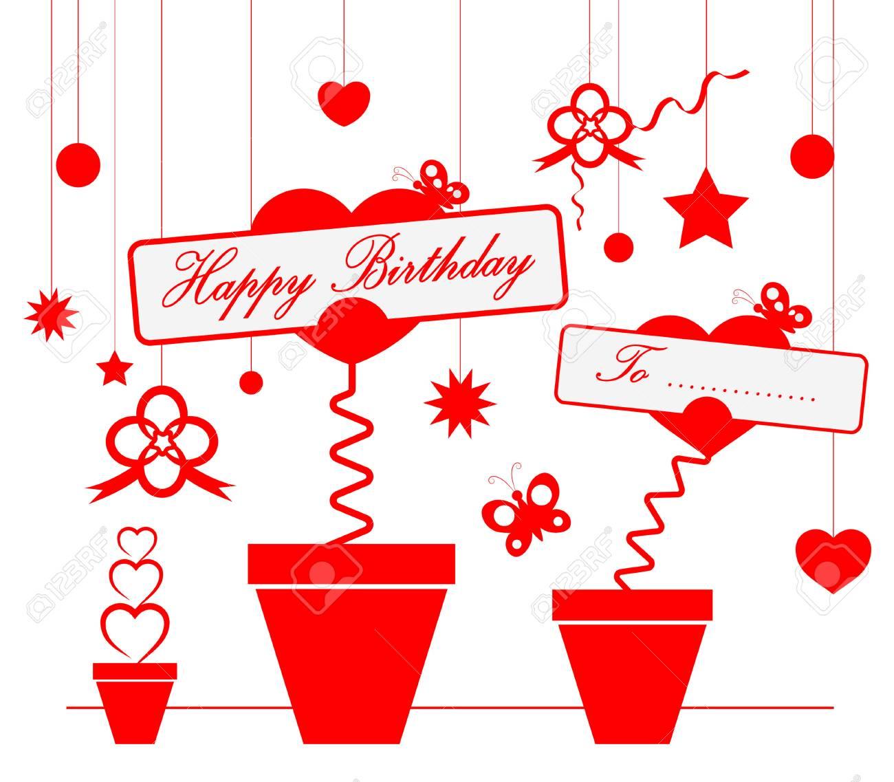 Carte Joyeux Anniversaire Avec Coeur Et Etoile Clip Art Libres De Droits Vecteurs Et Illustration Image 60658124