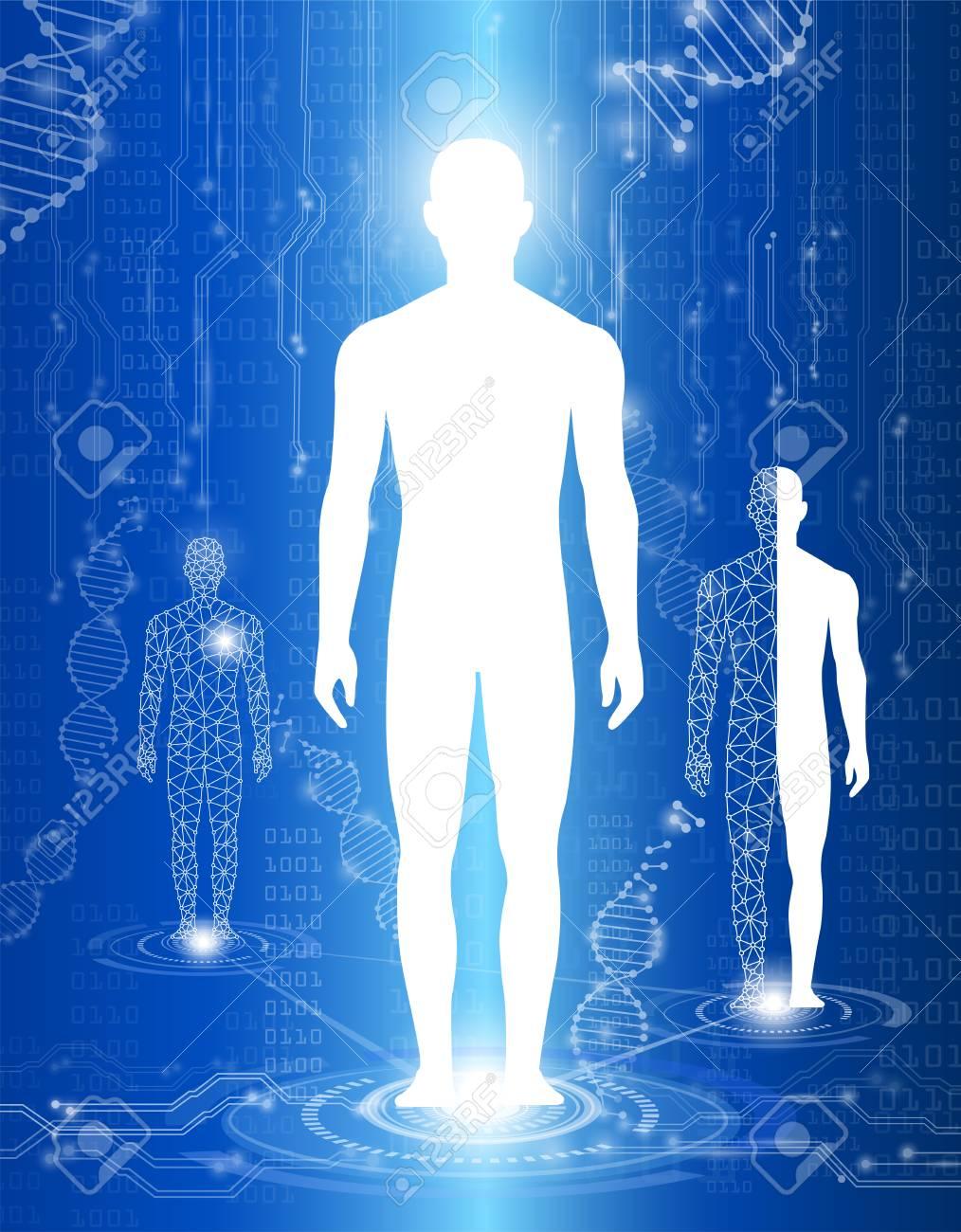 Abstraktes Hintergrundtechnologiekonzept Im Blaulicht, Menschlicher ...