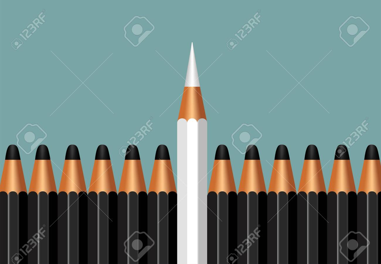 business concept leadership for the organization and company,copy space with pencil icon isolated on white background - 145586750