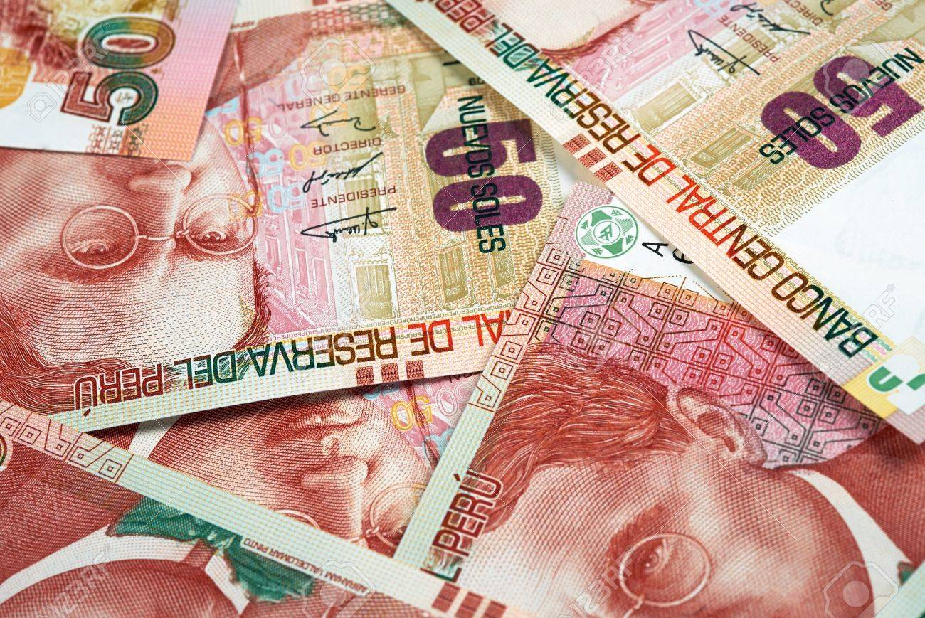 Peruvian paper notes, Nuevos Soles currency from Peru Stock Photo - 21284720