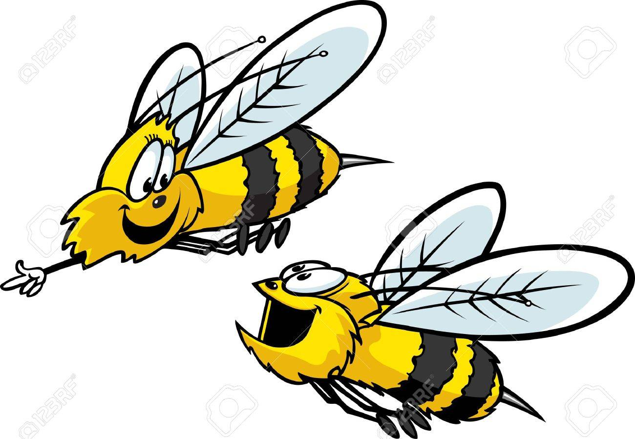 Two cartoon Bees having fun  Layered vector and high resolution jpeg files available Stock Vector - 16482298