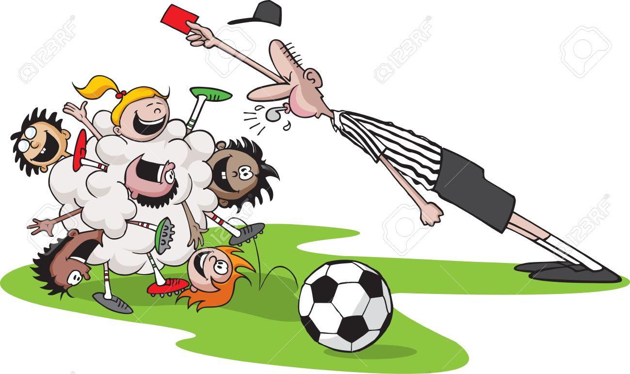 Una Caricatura Vector Monton De Ninos Jugando Futbol Kid El Arbitro
