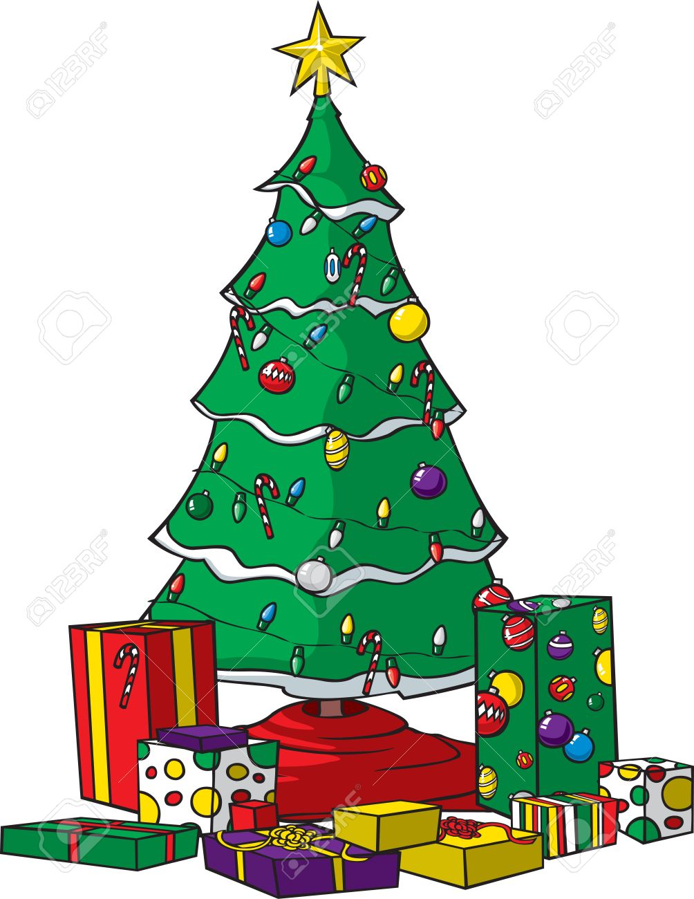 A Vector Cartoon Christmas Tree With Ornaments Lights And Presents