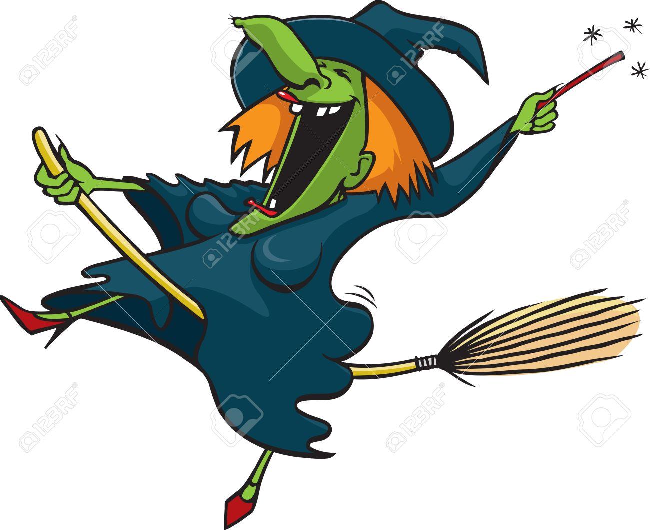 cartoon crazy witch vector stock vector 16493419 - Halloween Witch Cartoon