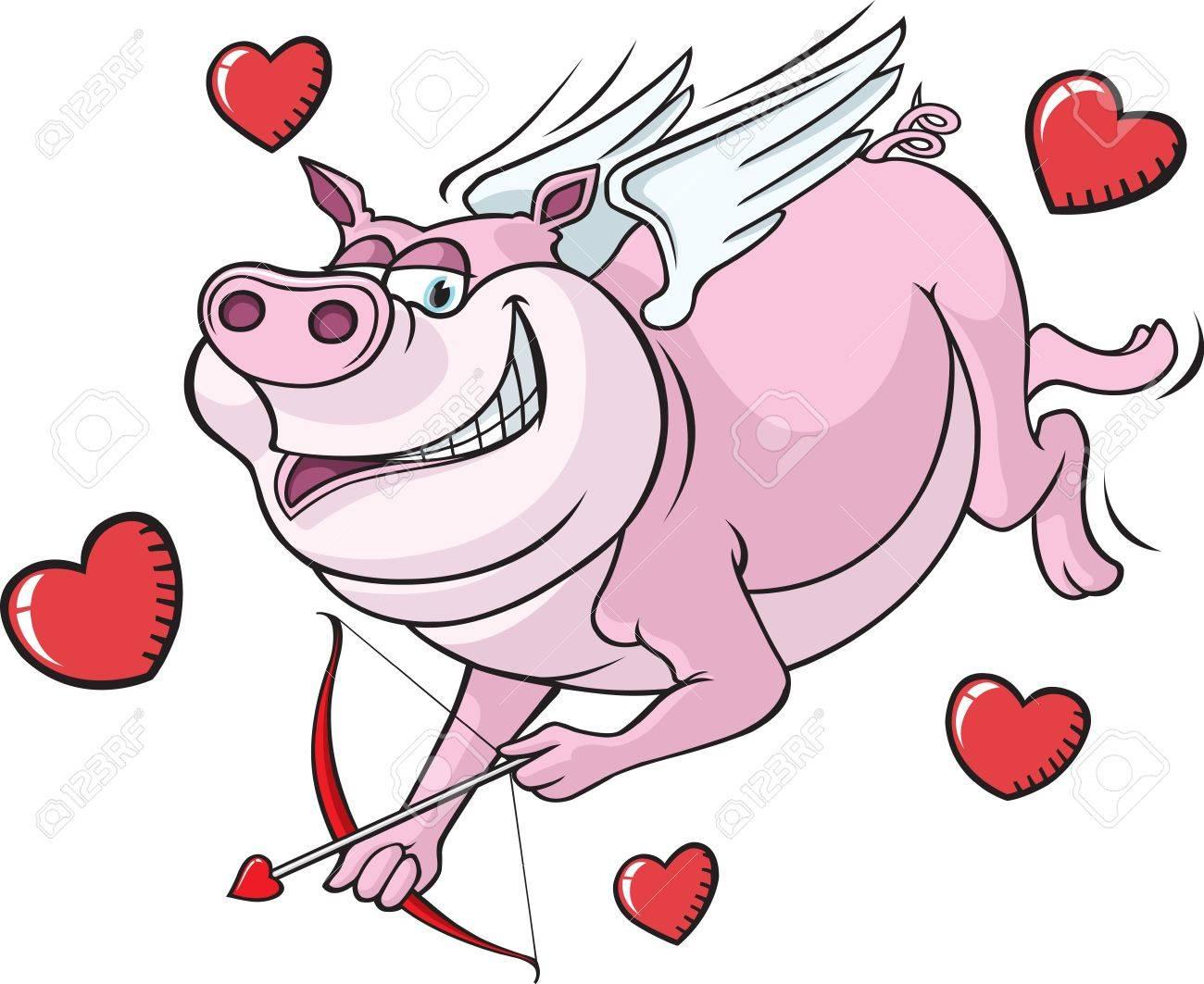 Cartoon Flying Pig Cupid  Vector file Stock Vector - 16493448