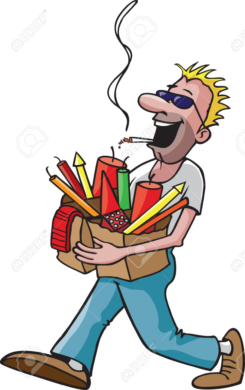 A cartoon man carrying a bag full of fireworks while smoking a cigarette   and high resolution raster files available Stock Vector - 16513653