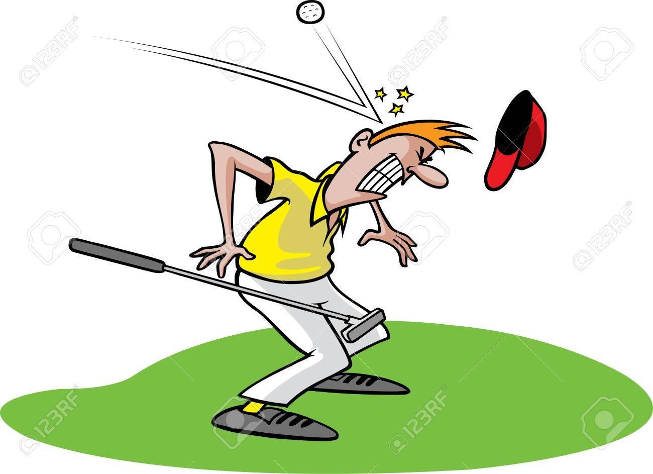 Cartoon of an unlucky golfer Layered and high resolution jpeg files available - 16513720