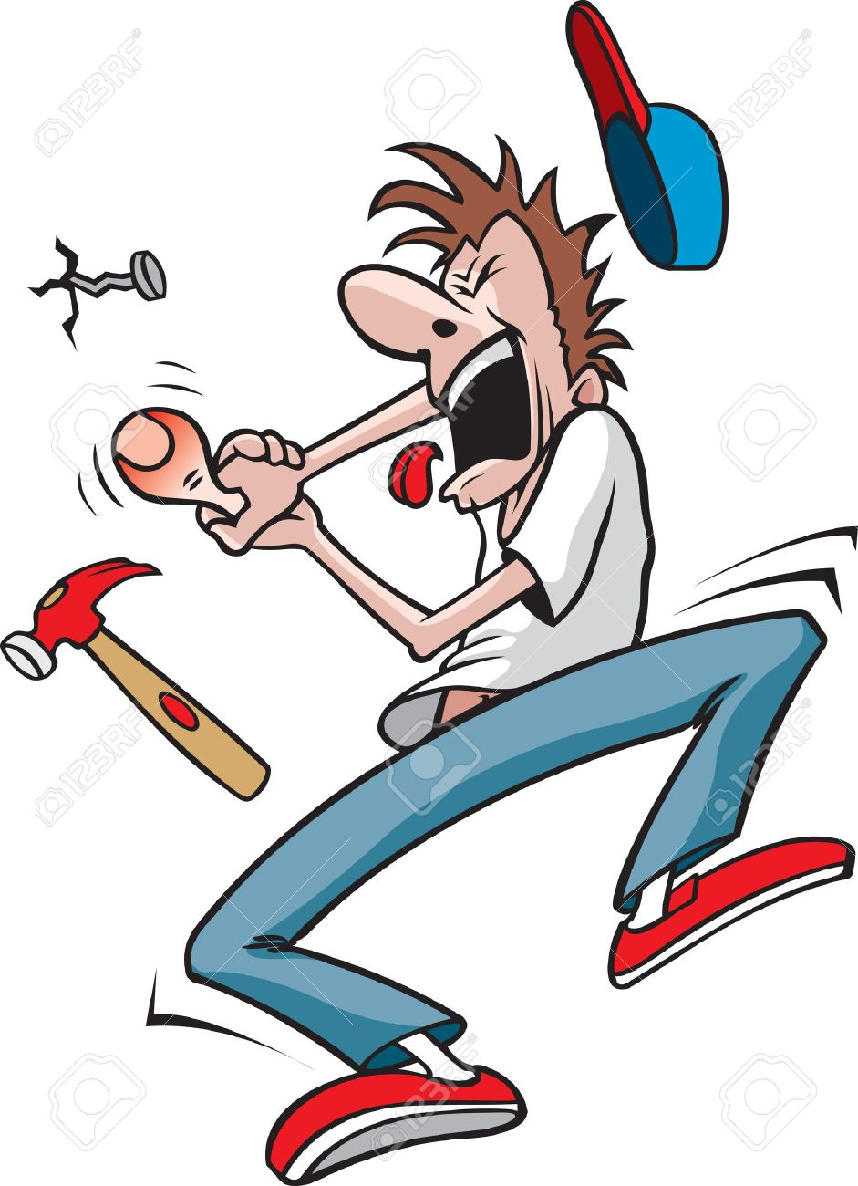 Guy hits thumb with hammer Cartoon of a Man who has just hit his thumb with a hammer - 24158196