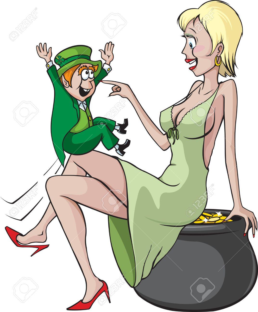 sexy woman and leprechaun cartoon woman, pot of gold and leprechaun
