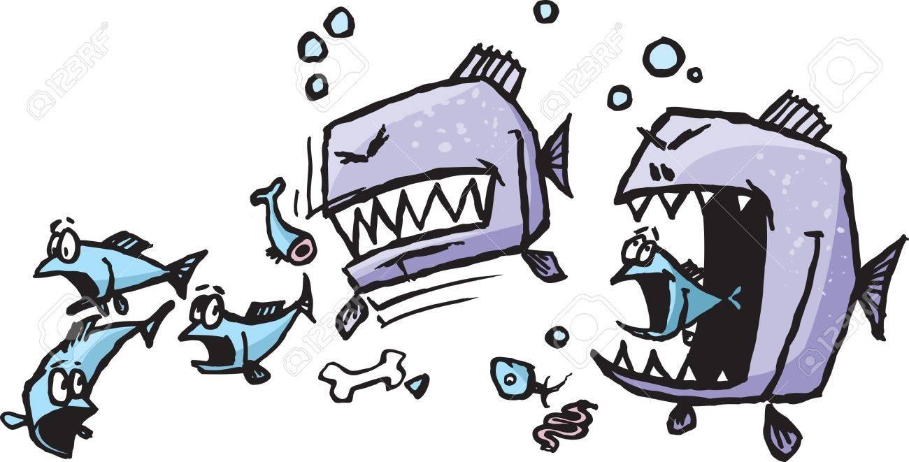 Un Par De Dibujos Animados Piraña Vicioso Rasgadura En Una Escuela ...
