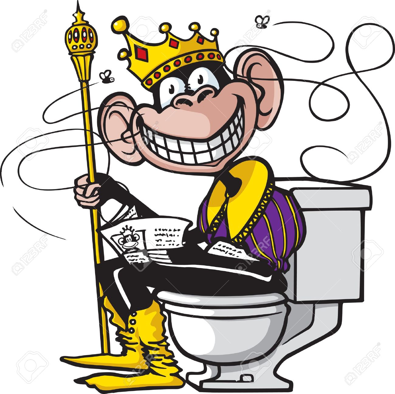 A Cartoon Of Chimpanzee Sitting On Toilet Stock Vector