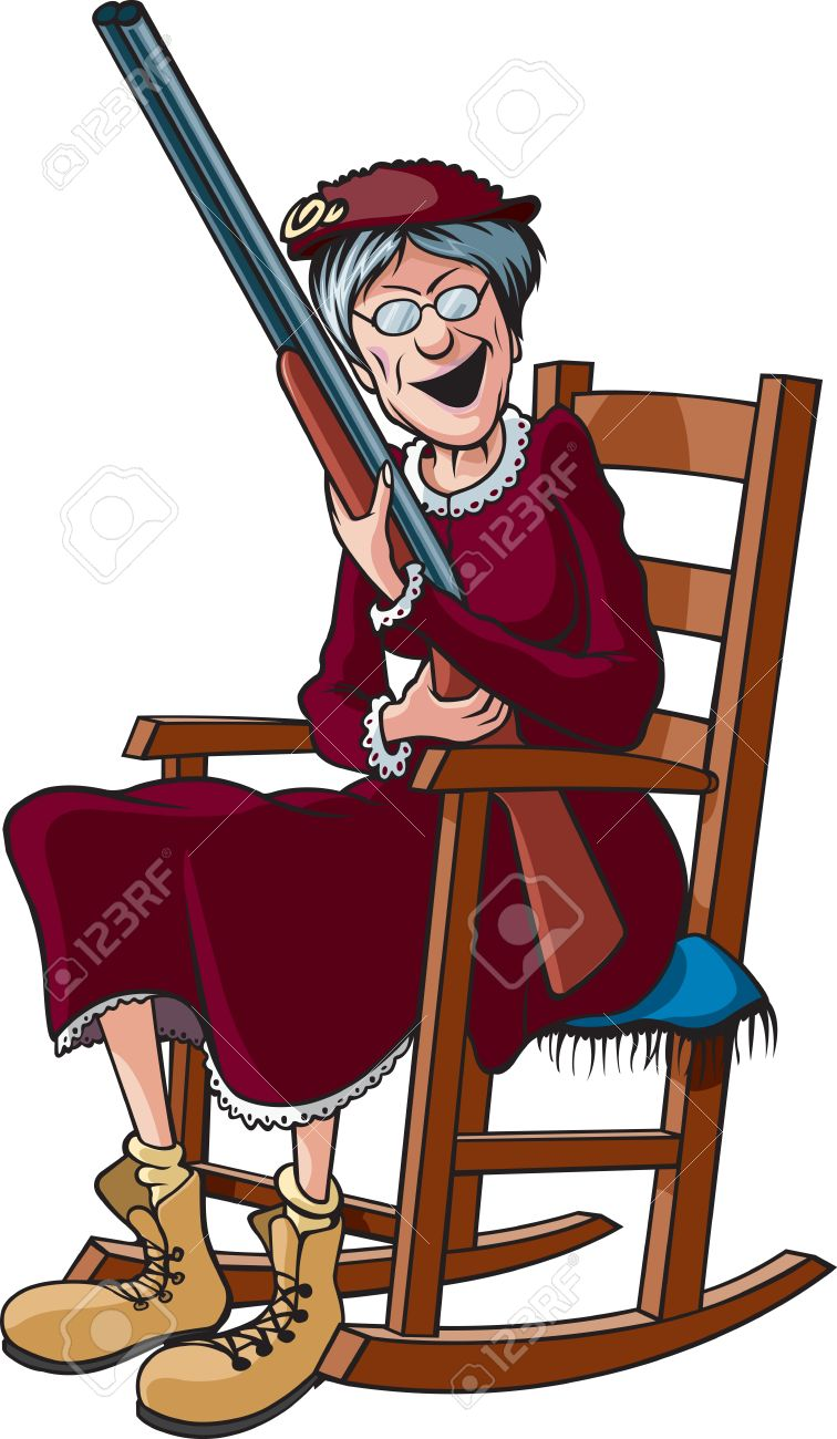 brand new 2cda7 2969f A cartoon Grandmother in a rocking chair and holding a shotgun
