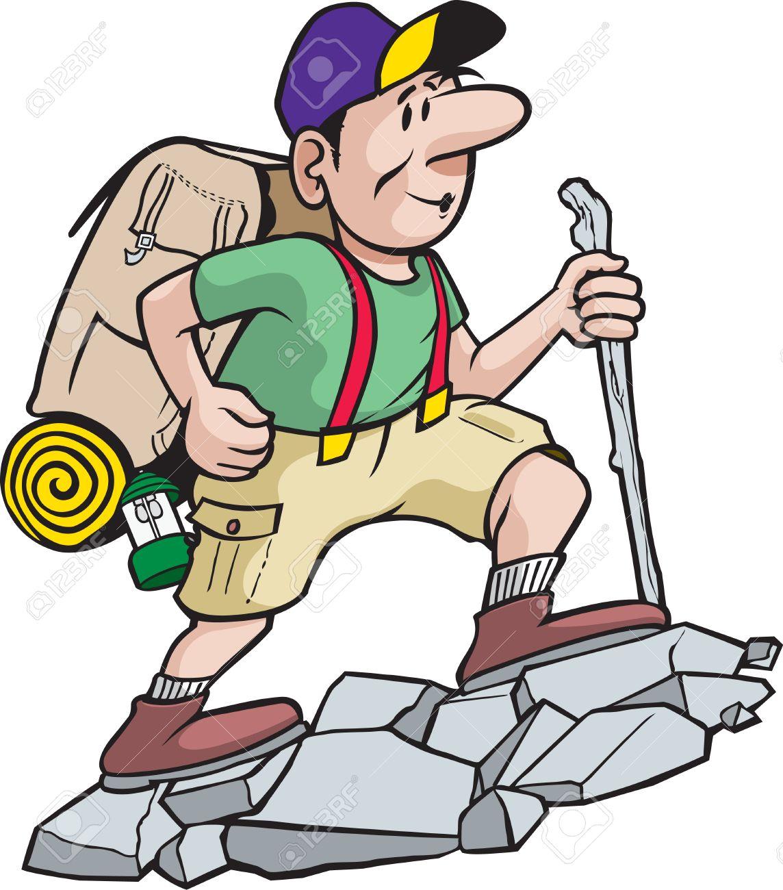 A cartoon hiker enjoying the great outdoors - 26868737