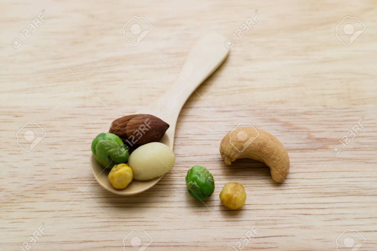 Mixed Beans On Little Wooden Spoon