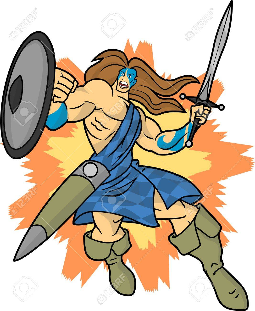 An editable vector cartoon of a fierce highlander or Celtic warrior who is charging into battle. Stock Vector - 20306060