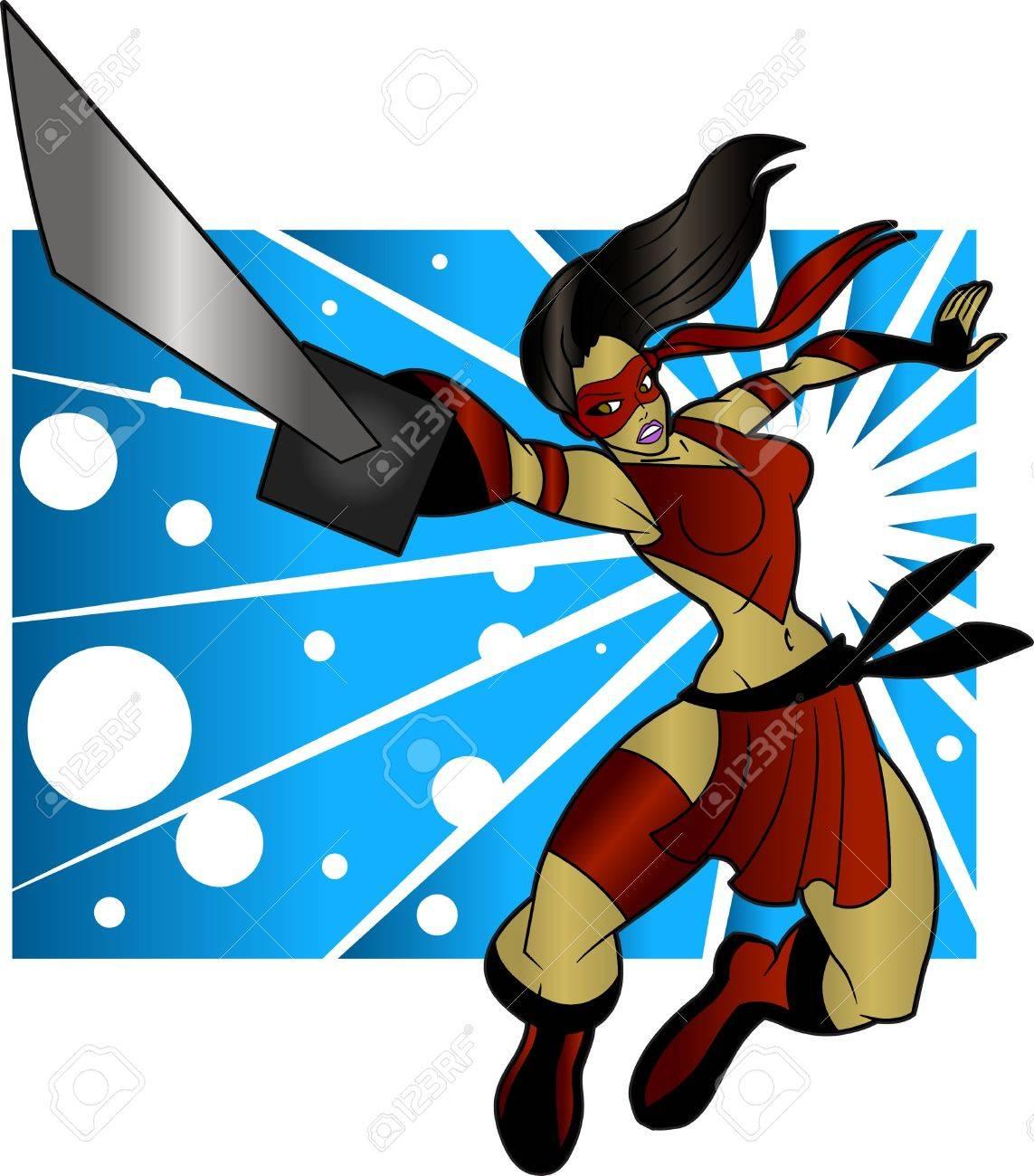 An editable vector cartoon of a beautiful ninja woman who is ready to do battle. Stock Vector - 20306076