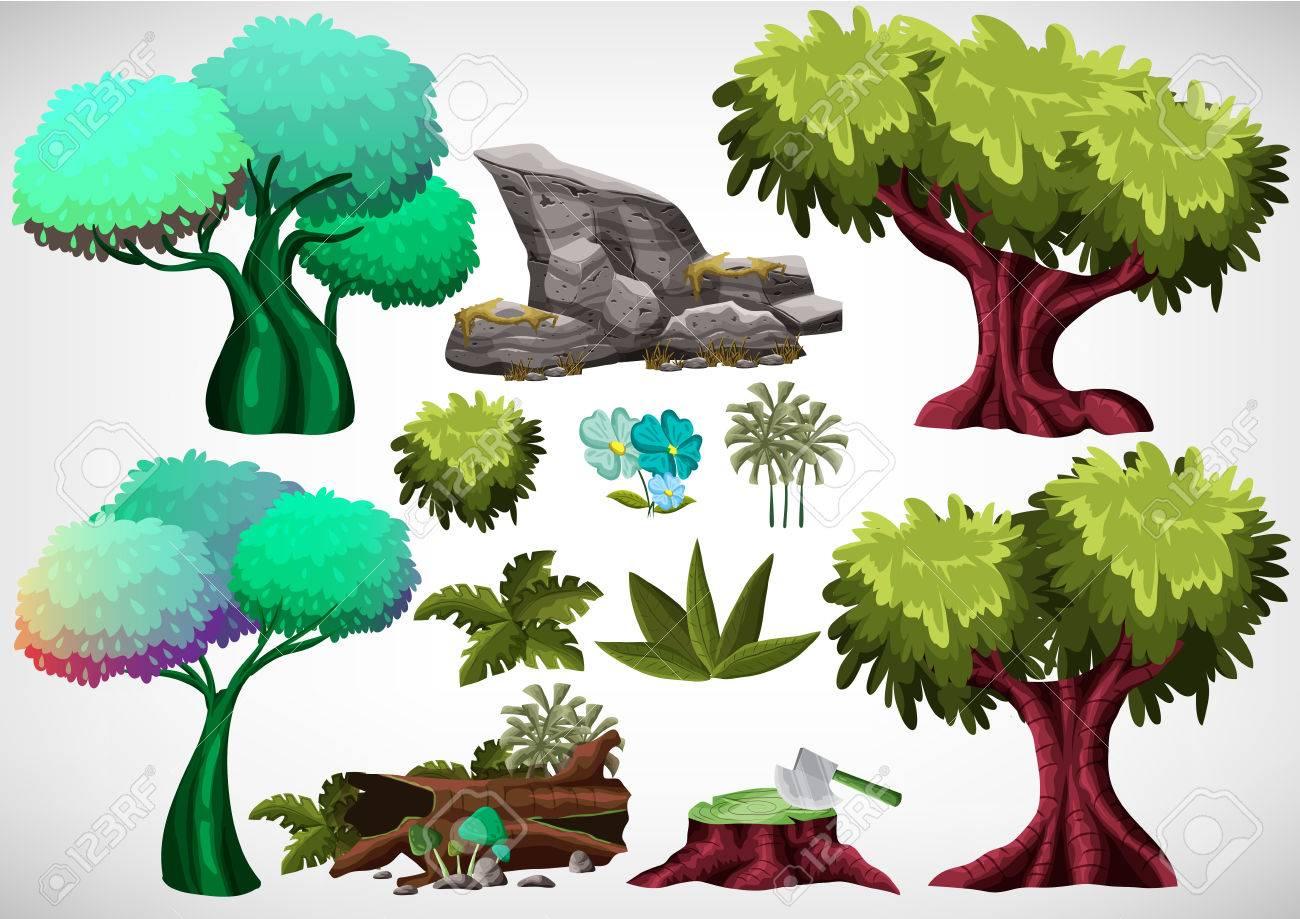 Conjunto De árbol De Color De Dibujos Animados Para Su Uso En El