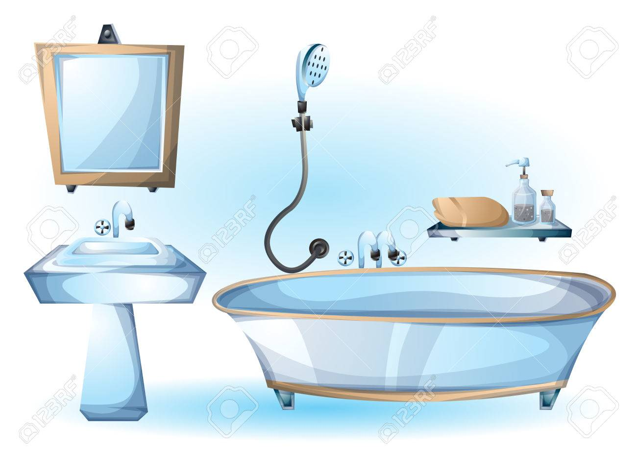 Cartoon Vector Illustration Interior Bathtub Object With Separated ...