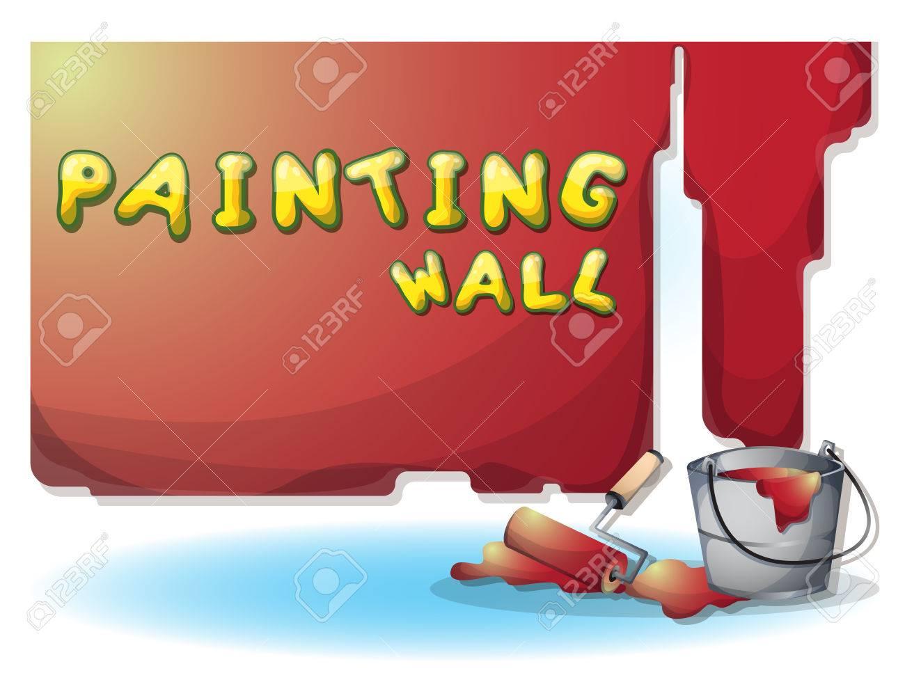 Banque Du0027images   Dessin Animé Illustration Mur De Peinture Intérieure Avec  Des Couches Séparées Dans Graphique 2d