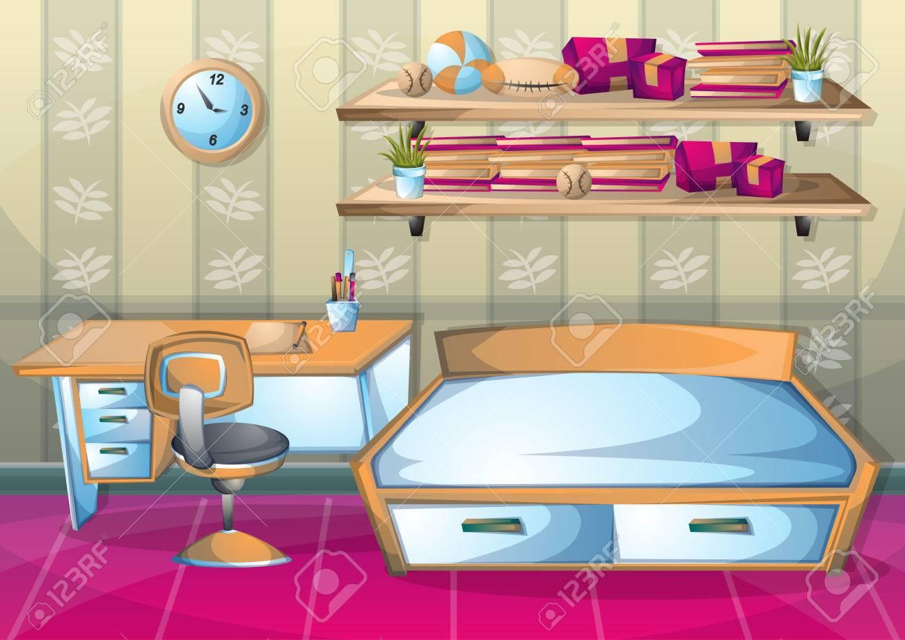 Dessin Animé Illustration Vectorielle Chambre D\'enfant Intérieur ...